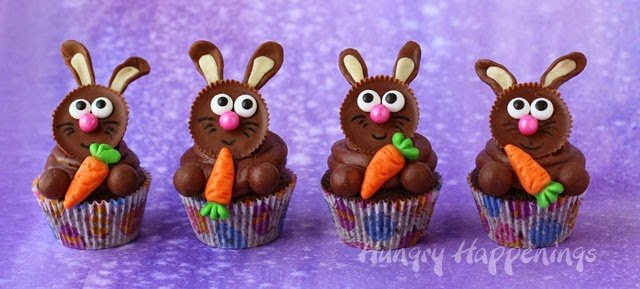 Cute Easy Easter Bunny Cupcakes from HungryHappenings.com
