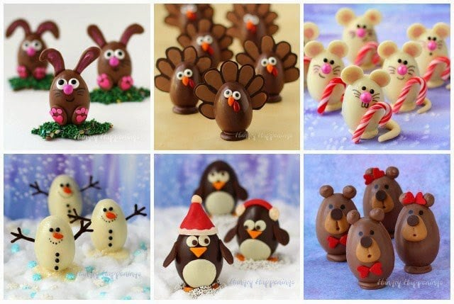 Create whimsical treats using chocolate eggs. These bunnies, turkeys, mice, snowmen, penguins, and bears all have different fillings inside and taste as great as they look.