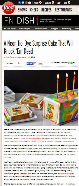 Rainbow Tie Dye Surprise Birthday Cake featured on Food Network's FN Dish