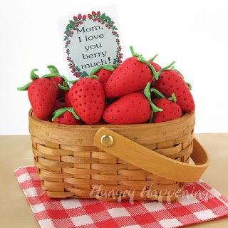 Tell your mom you love her berry much by making her a basket filled with strawberry candies.