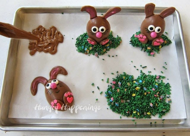 Homemade Chocolate Easter Bunnies tutorial at HungryHappenings.com