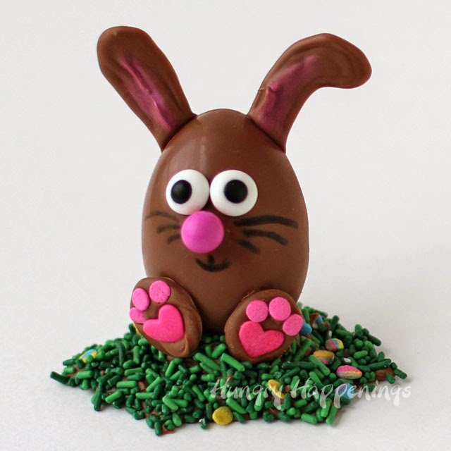 Turn homemade peanut butter fudge filled chocolate eggs into these adorable Chocolate Easter Egg Bunnies.