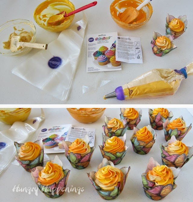 Wilton's ColorSwirl 3-Color Coupler makes adding multicolored frosting swirls to cupcakes easier.