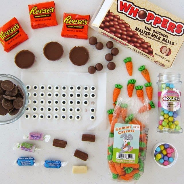 Ingredients to make Reese's Cup Easter Bunny Cupcakes. Tutorial at HungryHappenings.com