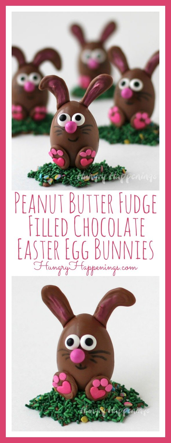 These sweet little Peanut Butter Fudge Filled Chocolate Easter Egg Bunnies will make the perfect centerpiece for any Easter dessert table.