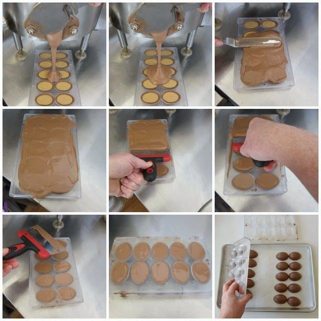 How to make handmade peanut butter fudge filled chocolate Easter eggs. Tutorial at HungryHappenings.com