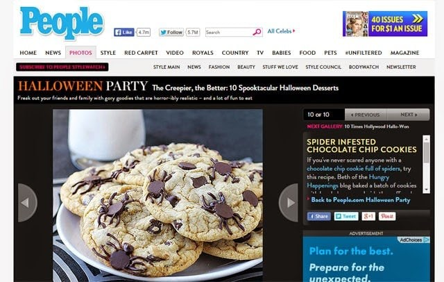 Spider Chocolate Chips Cookies featured in People Magazine
