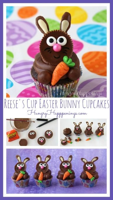 collage of images showing one Easter bunny cupcake on a brightly colored Easter egg background and four Reese's Cup Bunny Cupcakes on a purple background