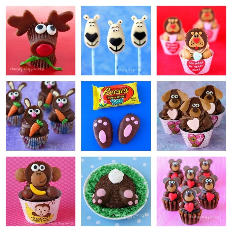 a collage of images showing 9 different treats made using Reese's Cups including Rudolph Reese's Cups, Reese's Cup Monkey Cupcakes, and Bunny Butt Brownies with Reese's Cup Feet.