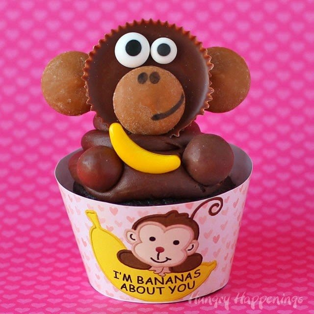 I'm Bananas About You Reese's Cup Monkey Cupcakes with free printable are the cutest Classroom Valentine's Day treat