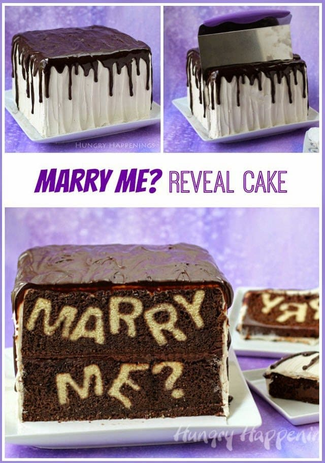 "Propose to your sweetheart in a unique way by serving this ""Marry Me?"" Reveal Cake. Find the step-by-step tutorial at HungryHappenings.com."