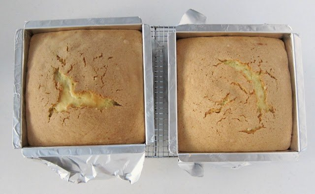 Baking pound cakes in 8 inch square pans.