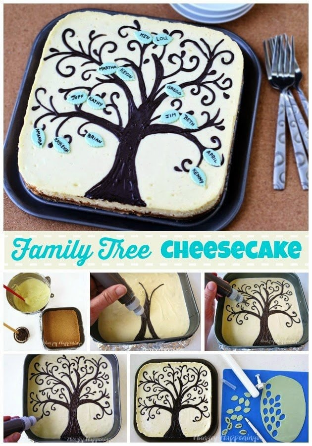 Create your own Family Tree Cheesecake! This is the perfect dessert to impress the women in your family on Mothers Day and show them how important family really is! If you can draw a simple tree, you can decorate this festive cheesecake.