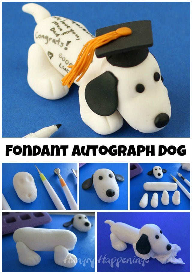 Learn how to make this adorable Fondant Autograph Dog using the Wilton Method at HungryHappenings.com
