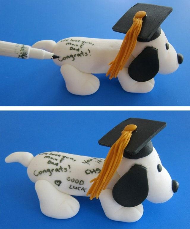 How to make a fondant autograph dog for graduation.