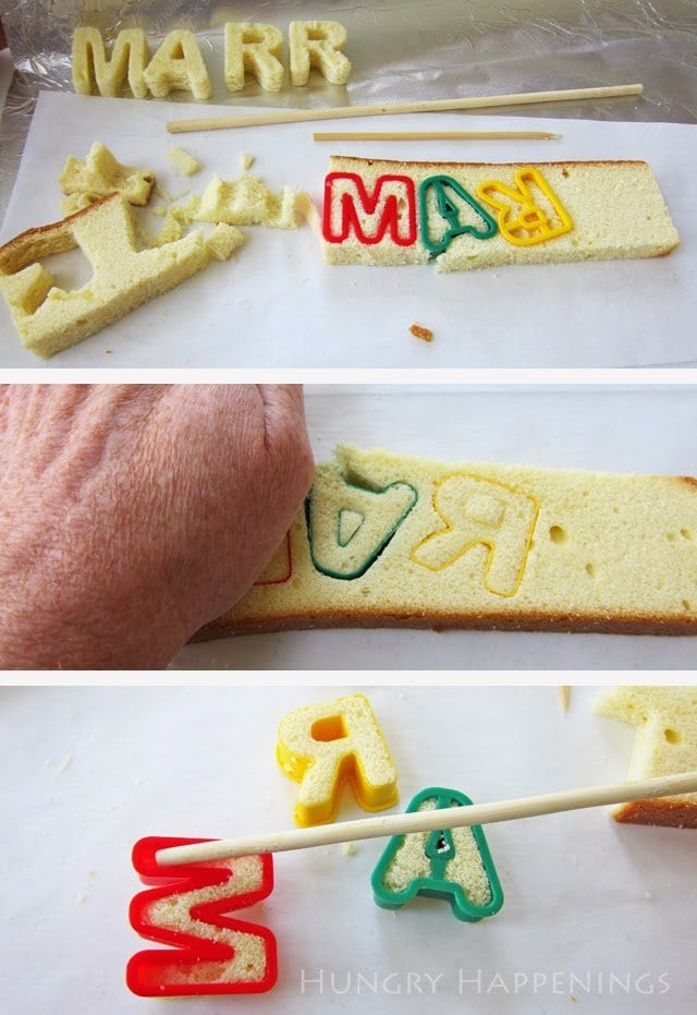 How to cut letters out of pound cake to put inside a surprise reveal cake.