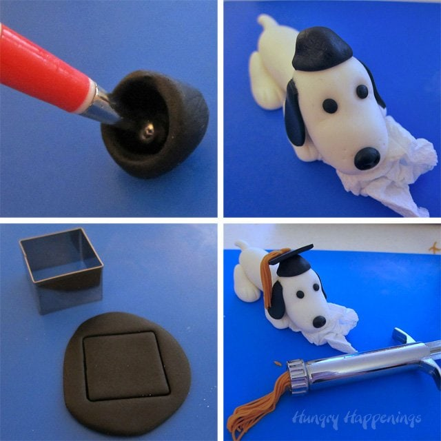 How to make a fondant autograph dog for graduation.