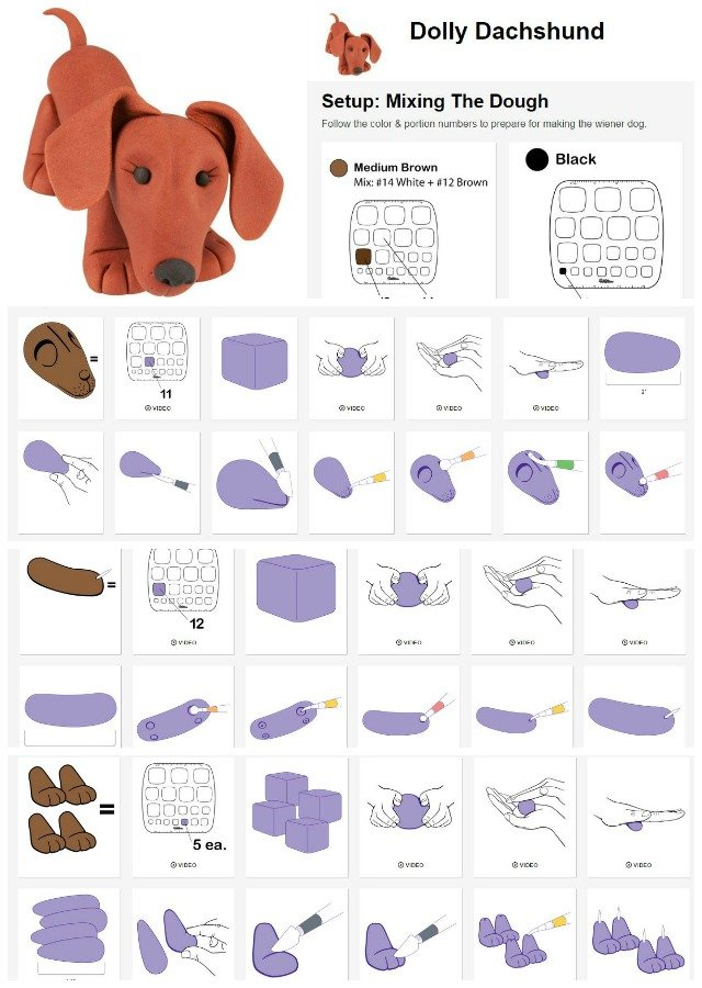 How to make a Dolly Dachshund out of fondant.