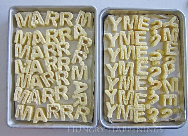 How to cut letters out of pound cake to put inside a surprise Marry Me? reveal cake.