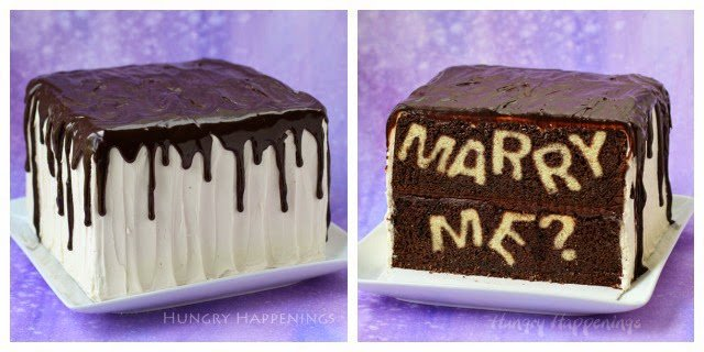 "Slice into this decadent chocolate cake to reveal your proposal. Find the tutorial for this ""Marry Me?"" Reveal Cake at HungryHappenings.com"