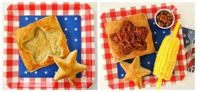 Patriotic Puff Pastry Filled with Smokehouse Pulled Pork or Beef