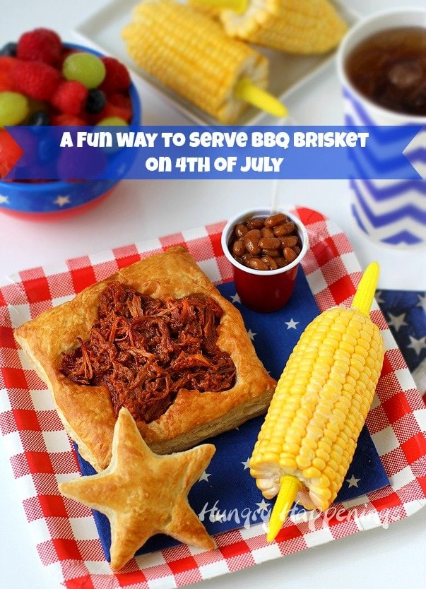 Here's a fun way to serve BBQ Pulled Pork or Beef at your 4th of July picnic and you wont have sauce dripping down your arms. | HungryHappenings.com