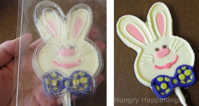 un-mold the chocolate Easter bunny lollipop from the candy mold