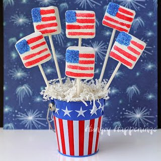 Sugar Coated Marshmallow Flags | HungryHappenings.com