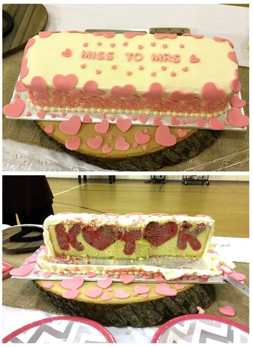 Bridal Shower Reveal Cake. Cut into this cake to reveal the surprise hiding inside.