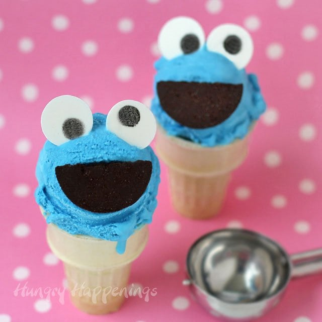 In 5 minutes you can make a super simple 4 ingredient Cotton Candy Ice Cream and when it's frozen use it to create these adorable Cookie Monster Ice Cream Cones. Tutorial at HungryHappenings.com