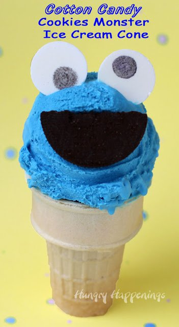 Cookie Monster Cotton Candy Ice Cream Cones made with a super simple 4 ingredient ice cream (no machine required.) Recipe at HungryHappenings.com