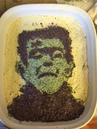 Turn a spinach and artichoke dip into Frankenstein's Monster for your Halloween party. Your friends will freak out!