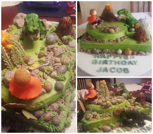 Use cookies and cream fudge rocks to decorate a dinosaur cake.