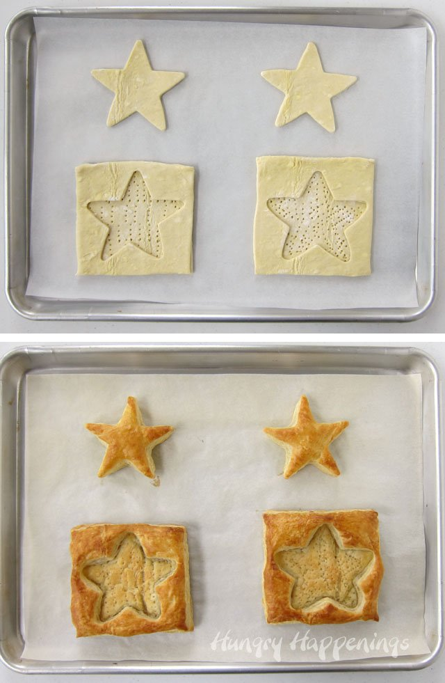How to make a star shaped puff pastry shell for 4th of July.