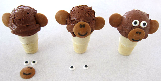 decorate your chocolate ice cream cone monkeys with peanut butter candy melts and candy eyes