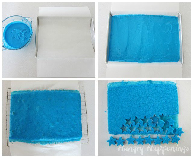 Cut out blue cake stars to put inside your Patriotic Ice Cream Roll.