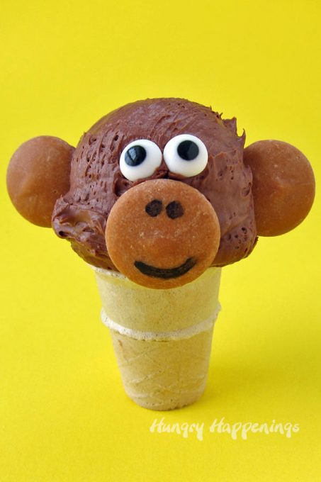 cute monkey ice cream cone