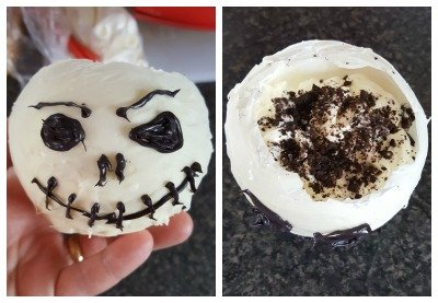 Jack Skellington Chocolate Bowls filled with Cookies 'n Cream Cheesecake Mousse.