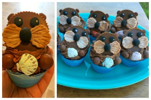 Cute Sea Otter cupcakes made using Reese's Cups.