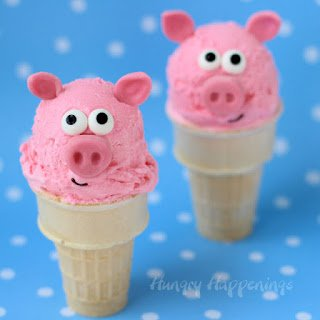 Pink Bubble Gum Ice Cream Cone Pigs - Recipe by HungryHappenings.com
