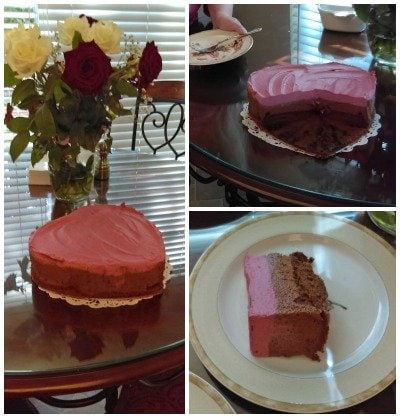Heart shaped chocolate raspberry mousse cake makes a great dessert for Valentine's Day.