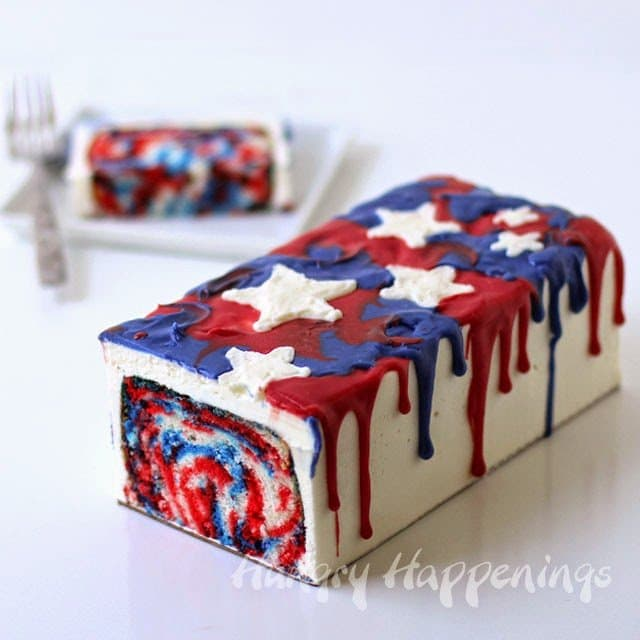 Red, White and Blue Tie-Dye Cake | HungryHappenings.com