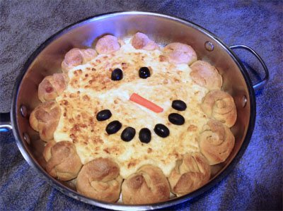 Snowman dip made in a skillet.