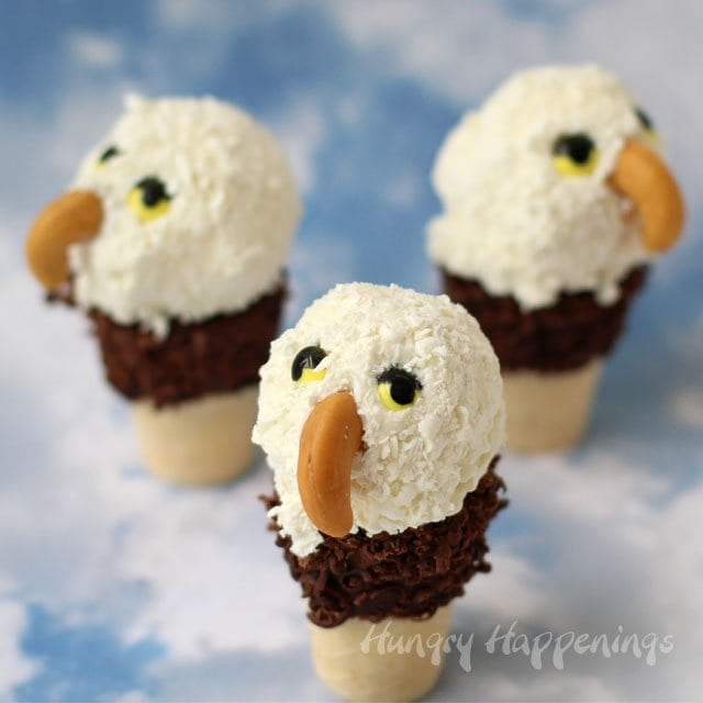 Mini Ice Cream Cone Eagles for the 4th of July from HungryHappenings.com