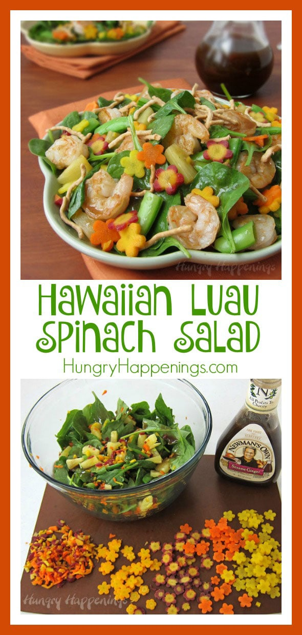 Add a bit of color to your summer salads by tossing in some yellow, orange and purple carrot flowers. This Hawaiian Luau Spinach Salad will make a wonderful lunch for a pool party or any summertime event. This is a sponsored post in partnership with Newman's Own.