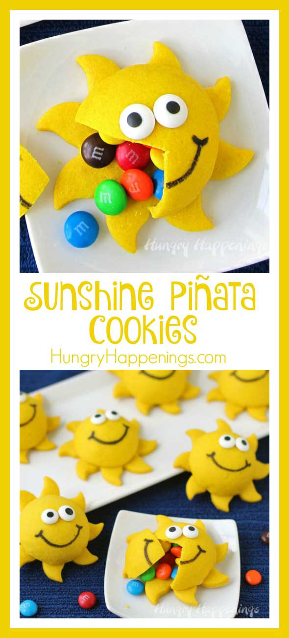 Turn any day into a sunny day when you gather friends together to share the Funshine and you serve these bright and cheerful Sunshine Piñata Cookies filled with M&M's® and Skittles®.