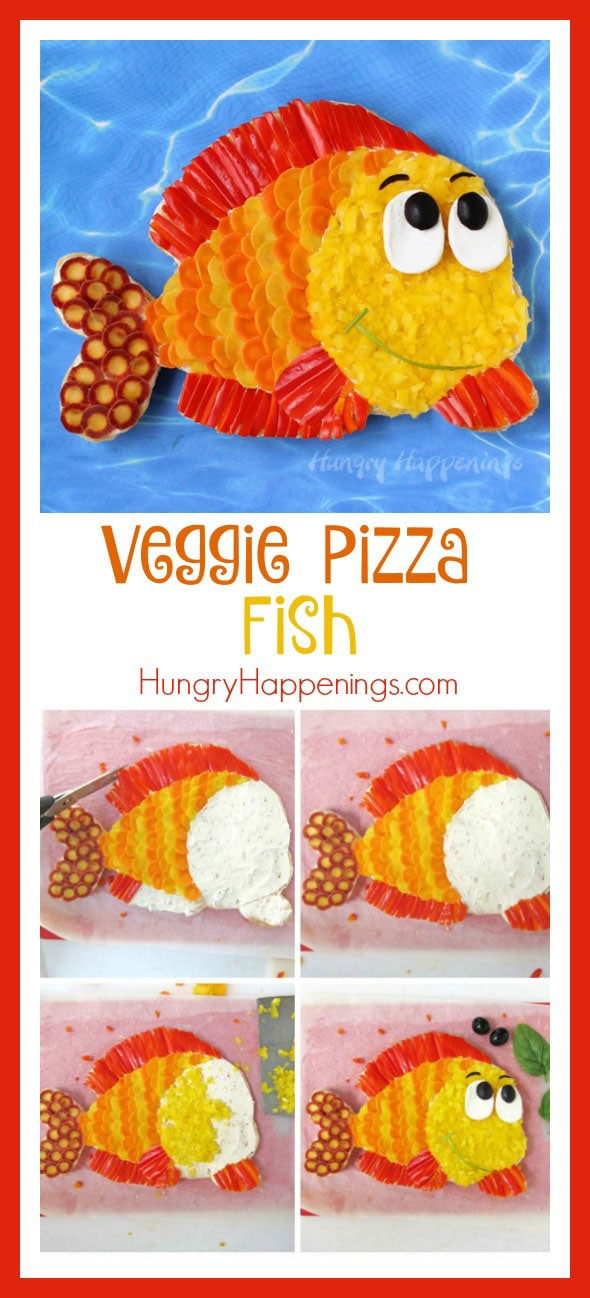 This summer when you host a pool or beach party make sure the food you serve is as fun as the entertainment. Your guests will flip over this brightly colored Veggie Pizza Fish.