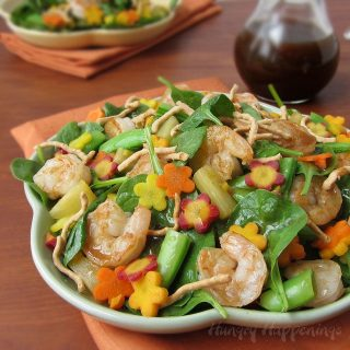 Hawaiian Luau Spinach Salad Topped with Carrot Flowers