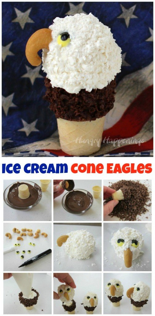 Create your own awe inspiring eagles for your July 4th celebrations. These Mini Ice Cream Cone Eagles coated in shredded Candy Melts are sure to be the hit of your patriotic party. Recipe from HungryHappenings.com.