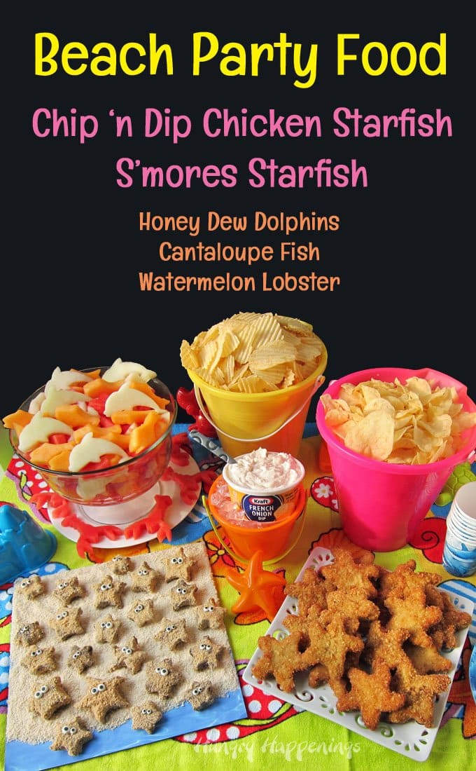 Celebrate summer by hosting a fun beach party. Make it special by serving Chip and Dip Chicken Starfish, S'mores Starfish, and more. Recipes from HungryHappenings.com